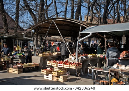 SENTA - NOVEMBER 13 : Market at 13 November 2015 in Senta, Serbia. Rural people in Serbia live mainly from agriculture. - stock photo