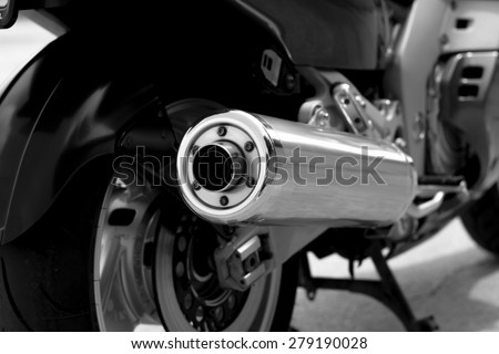 Senta, Serbia - May 17th, 2015: Photo shoot of Yamaha GTS 1000 bike from 1995, closeup shoot of a rear wheel and body.52 kW engine,built with Omega chassis concept. It has fork-less front suspension.