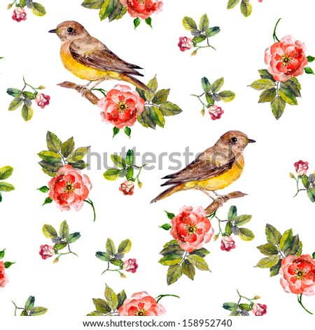 Sentimental retro floral seamless backdrop with wild roses and birds - stock photo