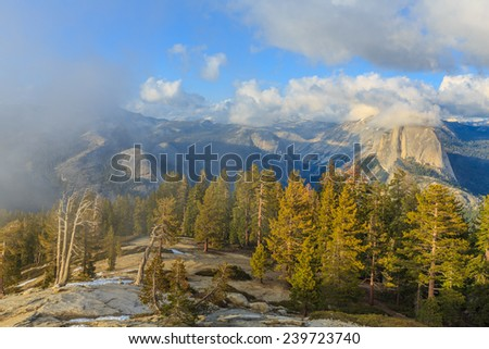 Sentinel Dome is a granite dome in Yosemite National Park, United States. - stock photo
