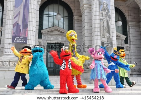 Sentosa, Singapore - June 11, 2014: Sesame Street characters are performing in front of the crowds at Universal Studio Singapore. - stock photo