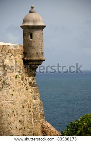 Sentry tower on the El Morro Fort in Old San Juan , Puerto Rico  Landmark of Puerto Rico - stock photo