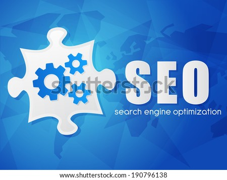 SEO and puzzle piece with gear wheels, search engine optimization text over blue background with world map, flat design, business technology concept words - stock photo