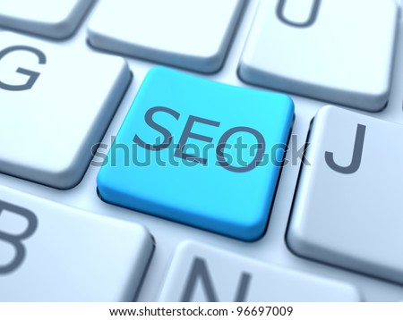 SEO-Blue Button on Keyboard