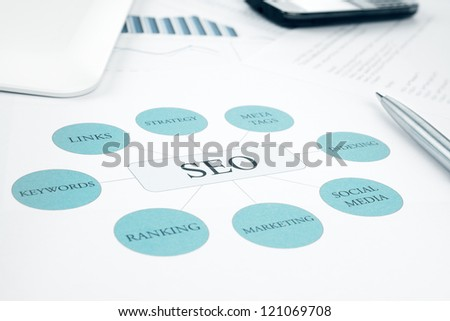 Seo business, search engine optimization, concept flow chart. Pen, tablet touchped and smartphone on background. Blue Toned - stock photo