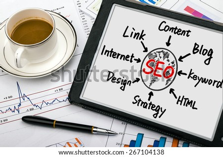 seo concept flowchart hand drawing on tablet pc - stock photo