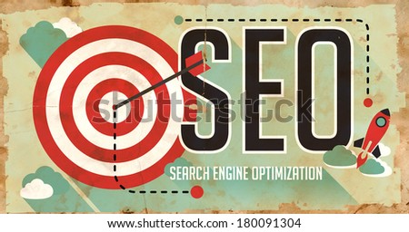 SEO Concept. Poster on Old Paper in Flat Design with Long Shadows. - stock photo