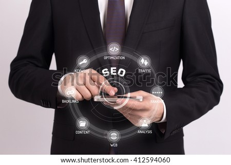 SEO CONCEPT with Icons and Keywords - stock photo