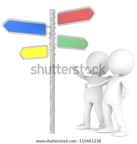 SEO. 3D little human character x 2 looking at a Directional Signs in 4 colors. People series. - stock photo