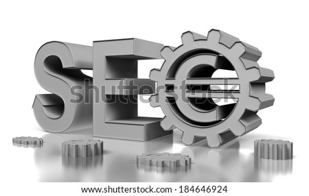 SEO 3d render - Search Engine symbol with gears - stock photo