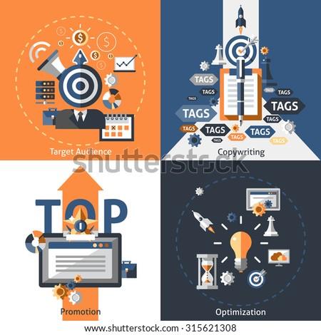 Seo design concept set with target audience copywriting promotion optimization flat icons isolated  illustration - stock photo
