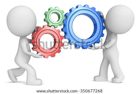 SEO. Dude 3D characters X2 holding Cogwheels. Red, Green and Blue. Side view.