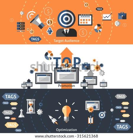 Seo flat banner set with target audience promotion optimization elements isolated  illustration - stock photo