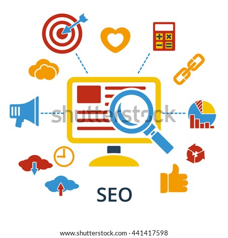 SEO infographic design concept icons for web and mobile apps. illustration. Symbols template combined from elements and icons which symbolized a success internet searching optimization process. - stock photo