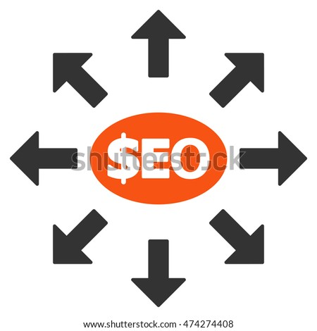 Seo Marketing icon. Glyph style is bicolor flat iconic symbol with rounded angles, orange and gray colors, white background.