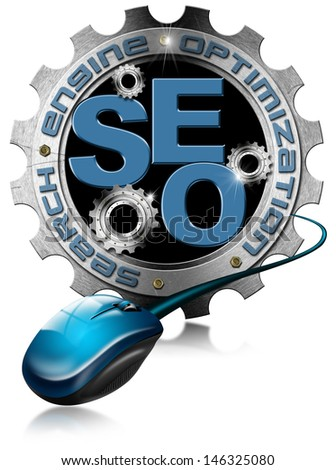 SEO - Metallic Gear / Illustration with metal gears, globe, mouse and written SEO - stock photo