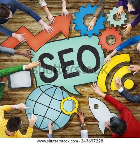 SEO Online Search Engine Optimization Internet Concept - stock photo