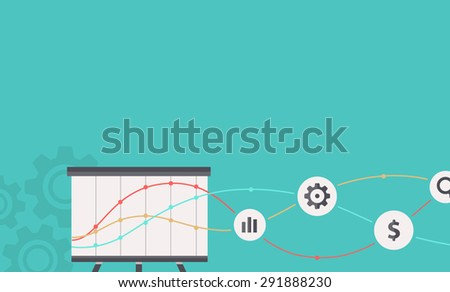 SEO optimization, programming process and web analytics elements in flat design. For web site construction, mobile applications, banners, corporate brochures, book covers, layouts. Raster version - stock photo