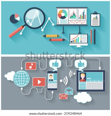 SEO optimization, programming process and web analytics elements in flat design. Set of social network icons. Raster version - stock photo