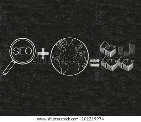 seo plus world symbol equal money written on blackboard background Easy to edit and use, high resolution. - stock photo