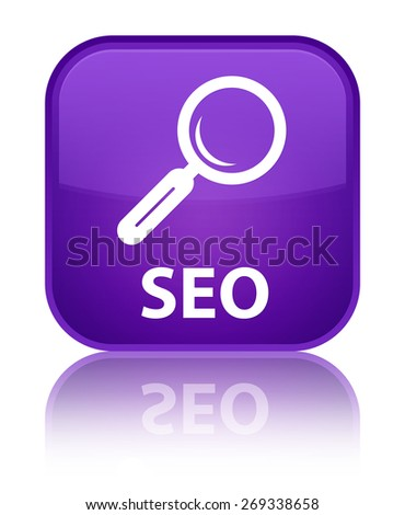 Seo purple square button - stock photo