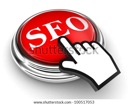 seo red button and cursor hand on white background. clipping paths included