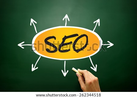 SEO (search engine optimization) arrows direction, business concept on blackboard - stock photo