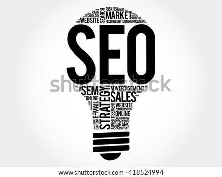 SEO (search engine optimization) bulb word cloud, business concept - stock photo