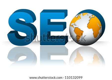 SEO( Search Engine Optimization ) Concept, 3D SEO Text With Earth Isolated on White Background