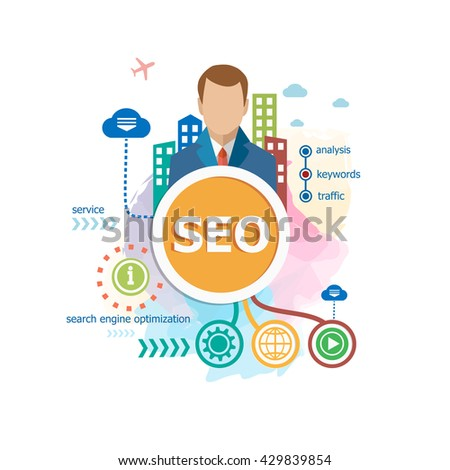 SEO (search engine optimization) concepts for web banner raster version - stock photo