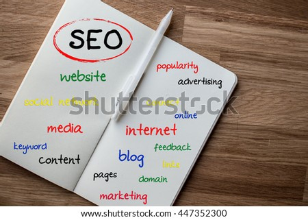 SEO - search engine optimization mind map on note - stock photo