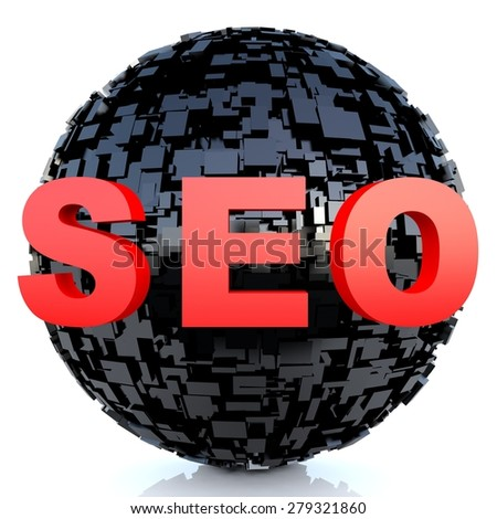 SEO - Search Engine Optimization on futuristic background - stock photo
