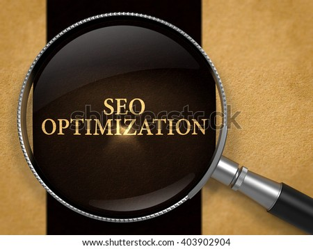 SEO - Search Engine Optimization - Optimization through Lens on Old Paper with Black Vertical Line Background. 3D Render. - stock photo