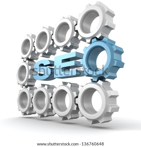 SEO - Search Engine Optimization symbol with lot of gears - stock photo