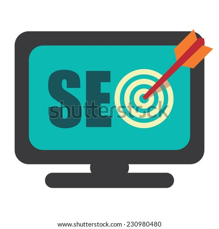SEO, Search Engine Optimization With Dart Hitting a Target Bullseye on Computer Screen Isolated on White Background - stock photo