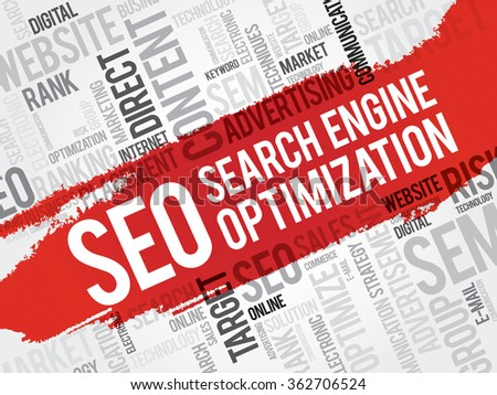 SEO (search engine optimization) word cloud business concept - stock photo