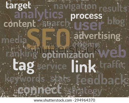 SEO - Search Engine Optimization. Word tag cloud business concept. - stock photo