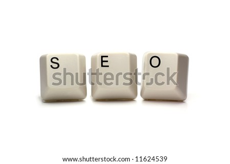 seo - search engine optimization written with computer keys, isolated on white