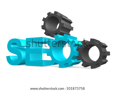 SEO - Search Engine symbol with gears - 3d render - stock photo