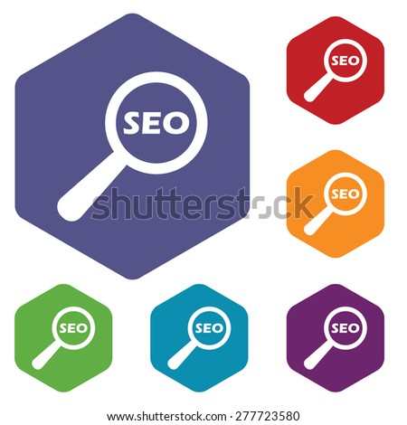 Seo search rhombus icons set in different colors - stock photo