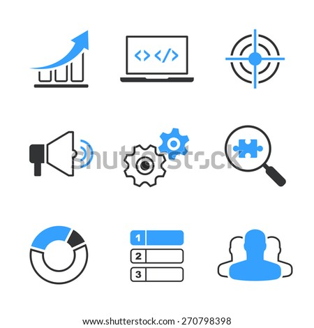 SEO simple icon set - graph, computer, target, megafon, wheels, search, diagram, position and clients - stock photo