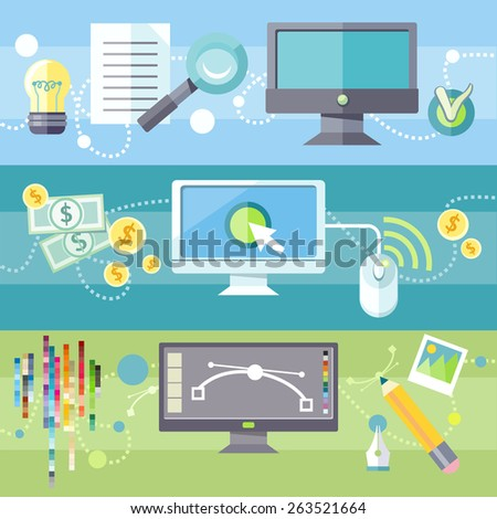 SEO social engineering optimization, programming process. Pay per click internet advertising model. Web graphic design. Program for design and architecture in flat design on banners. Raster version - stock photo