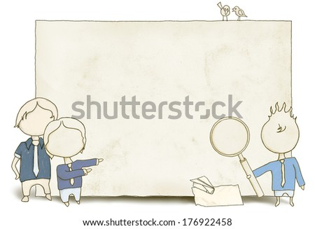 SEO Staff with Blank Paper and Clipping Path - stock photo