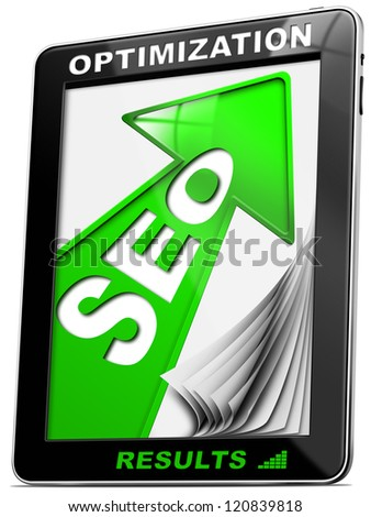 Seo Tablet PC Green Arrow / Written SEO - Search engine optimization with green arrow, globe and tablet pc - stock photo