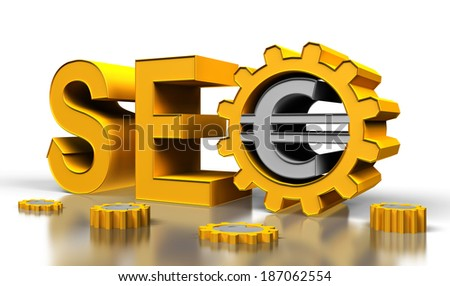 seo tag with gears wheel on a white background - stock photo