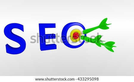 SEO target bullseye and darts in a simple 3d illustration,