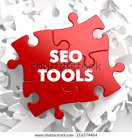 SEO Tools - Inscription on Red Puzzle on white background. - stock photo