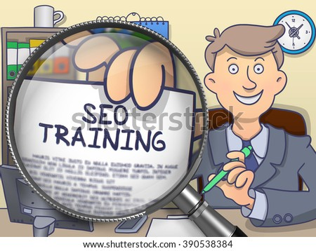 SEO Training. Businessman Shows Paper with Inscription through Magnifying Glass. Multicolor Doodle Illustration. - stock photo