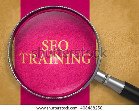 SEO Training through Loupe on Old Paper with Lilac Vertical Line Background. 3D Render. - stock photo
