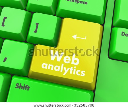 SEO web design concept: computer keyboard with word Web Analytics, selected focus on enter button background, 3d render - stock photo